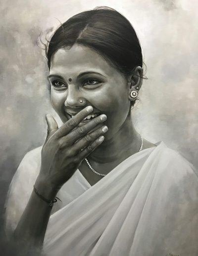Retrato-portrait-painting-tecnica-acrilico-mujer-india-pintora-artistica-Carol-Moreno-