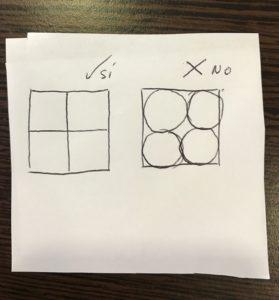 Ejemplo de cómo dibujar un cuadrado y partirlo en cuatro partes iguales