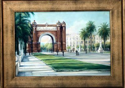 Arco-del-triunfo-oleo-sobre-tela-cuadros-pintados-carol-moreno-paisajes-barcelona-pintados-acrylic-painting-on-canvas-oil-vintage-firurative-artistic-painter
