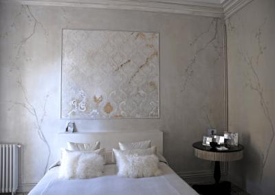 Mural-textura-fondo-y-ramas-acrilico-murales-clasicos-pintora-artistica-Carol-Moreno-Barcelona
