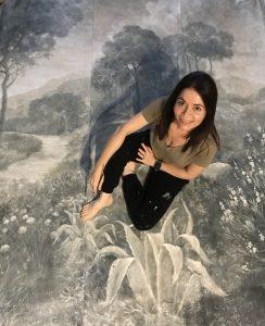 Biombo grisalla pintado para Azultierra